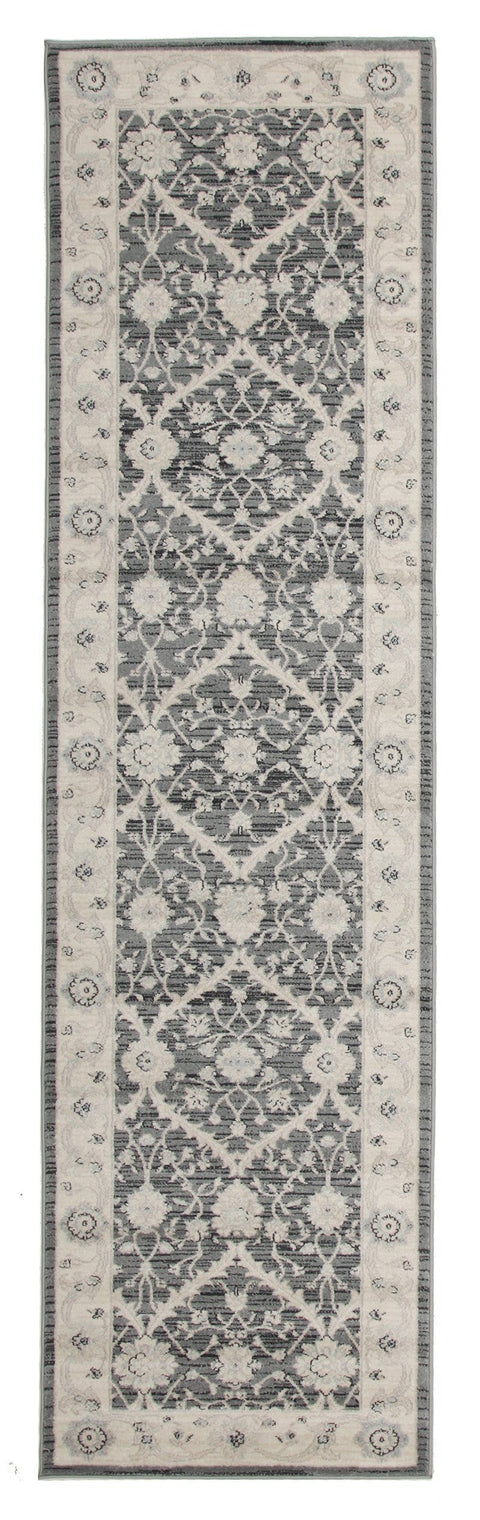 Floro Dark Grey & Ivory Transitional Runner Rug