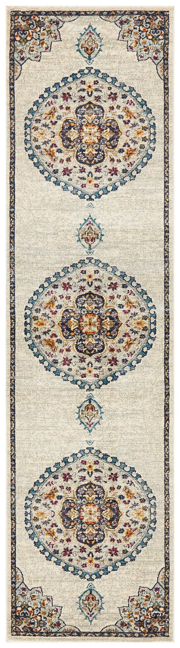 Fontaine Cream Traditional Medallion Runner Rug