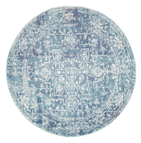 Hadera Blue Transitional Round Rug