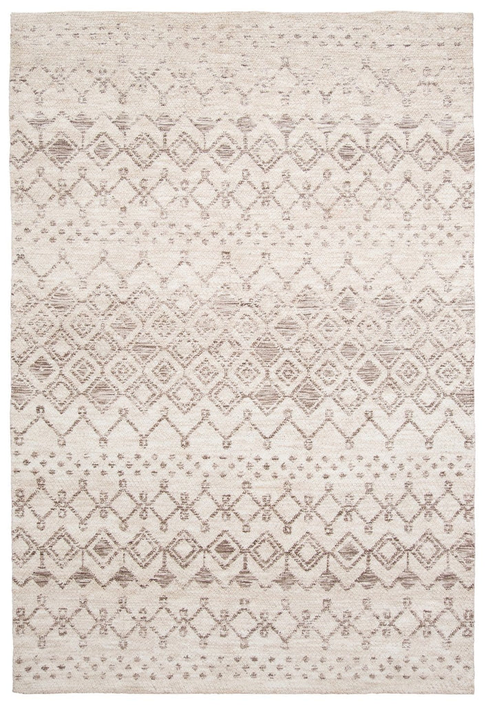 Harlow Ivory Cream and Brown Tribal Rug