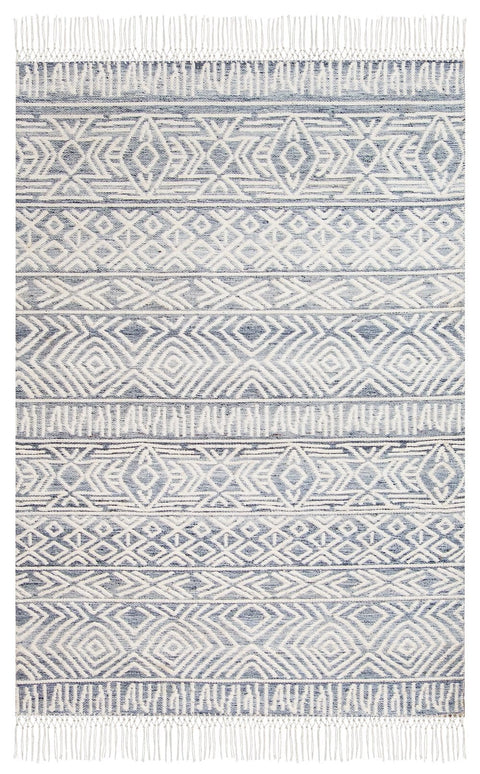 Hattie Blue and Ivory Transitional Tribal Rug