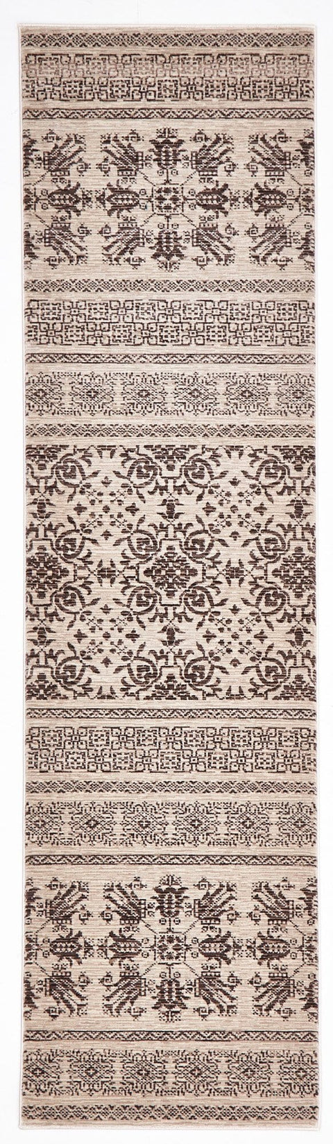 Hazar Mocha & Ivory Traditional Runner Rug