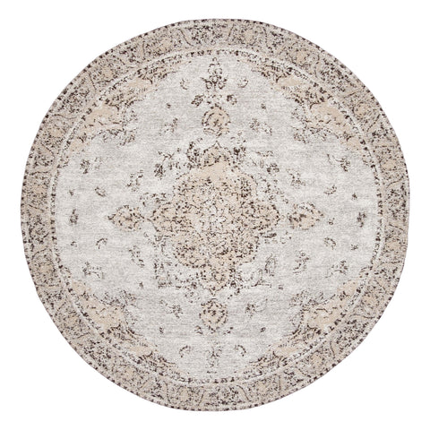 Helena White and Peach Turkish Style Distressed Round Rug
