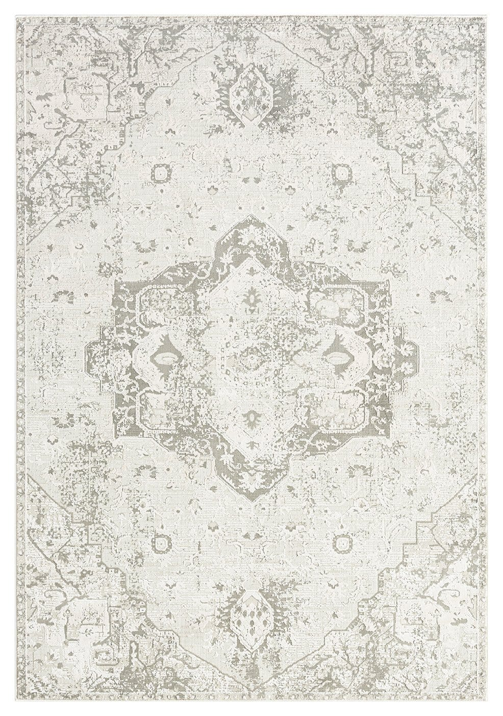 Henrietta Grey and Ivory Distressed Floral Rug