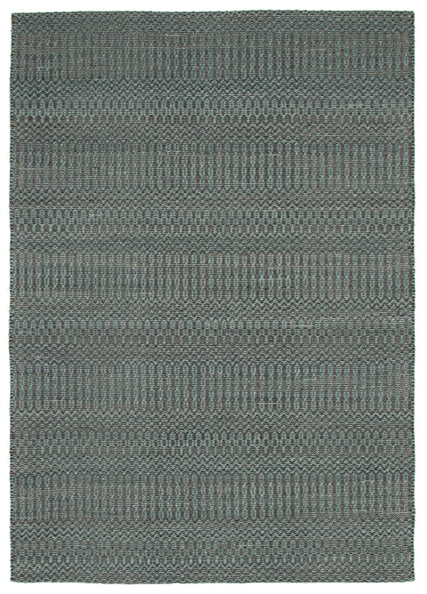 Herning Blue & Black Flatweave Cotton & Wool Rug