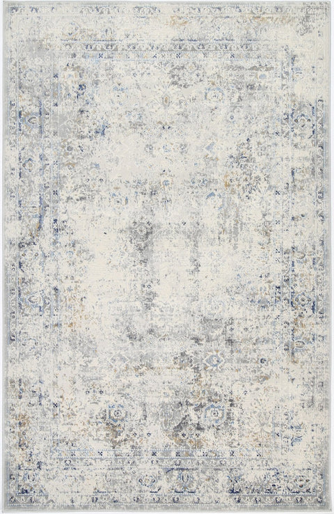 Hixson Blue Grey and Ivory Floral Motif Distressed Rug