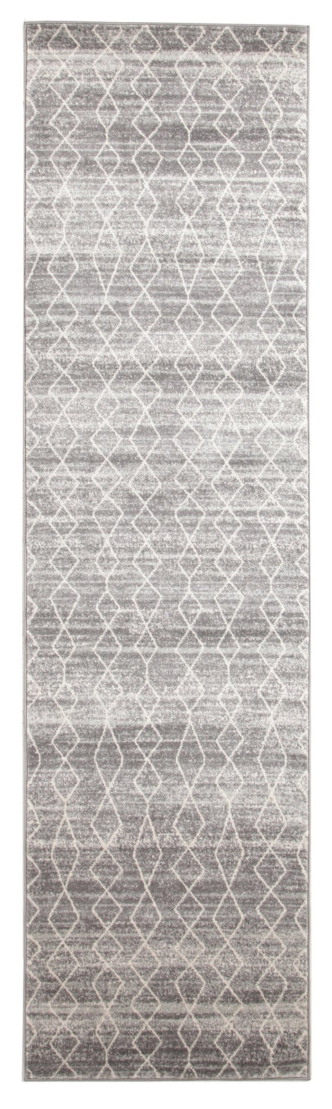 Hobokin Grey Diamond Distressed Runner Rug