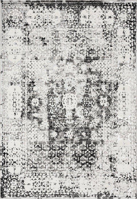 Imran Black Grey and Ivory Traditional Distressed Rug