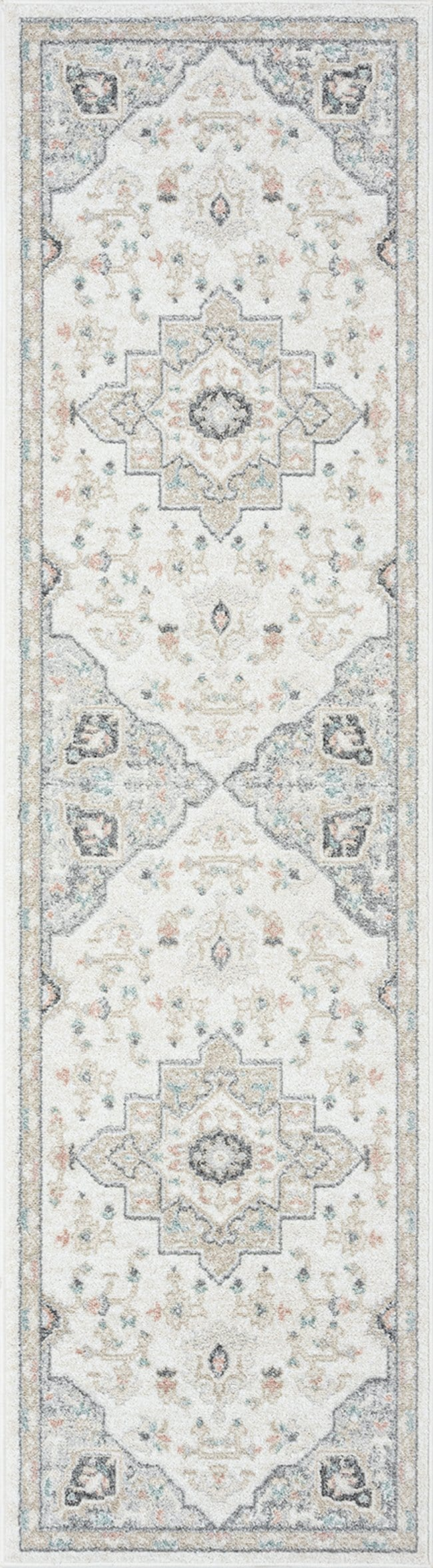 Ingrid Cream Blue and Pink Traditional Floral Runner Rug