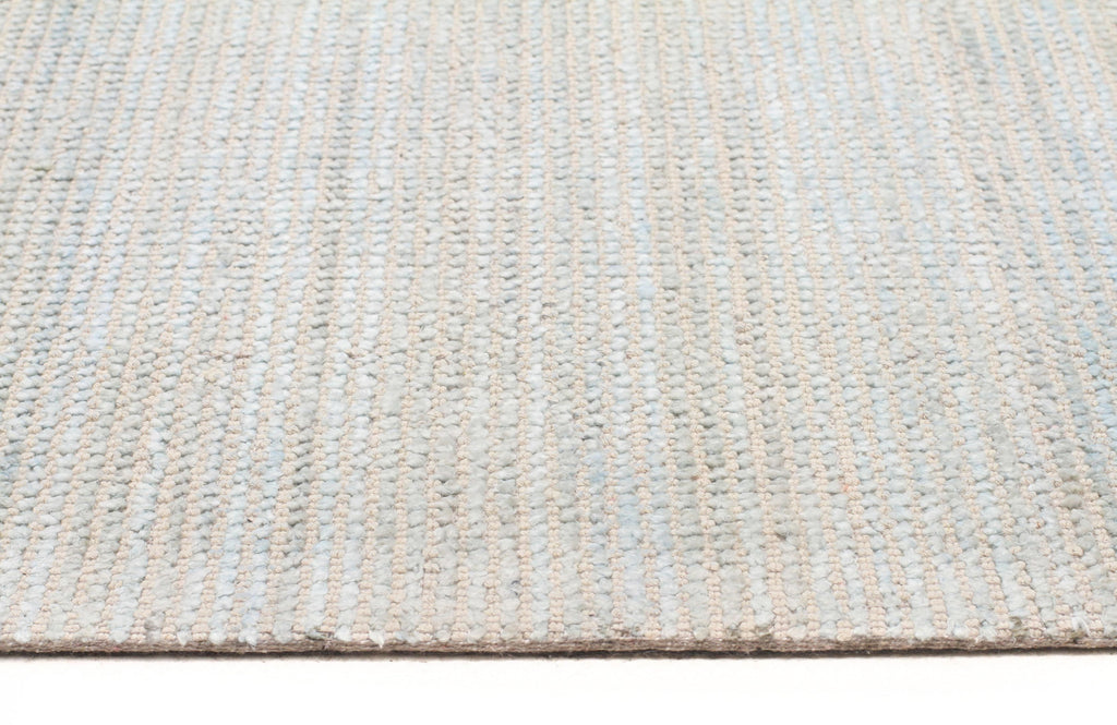 Unique Ios Light Blue & Cream Hand Loomed Cotton Rug OA03