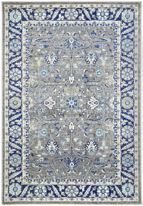 Ishim Grey and Blue Distressed Transitional Rug
