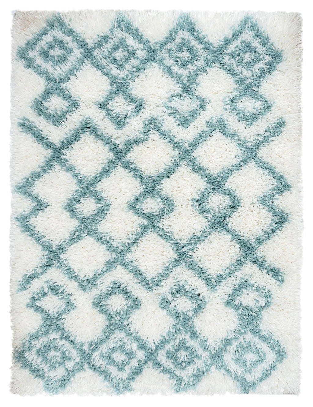 Jaira Ivory and Turquoise Blue Tribal Shag Indoor Mat