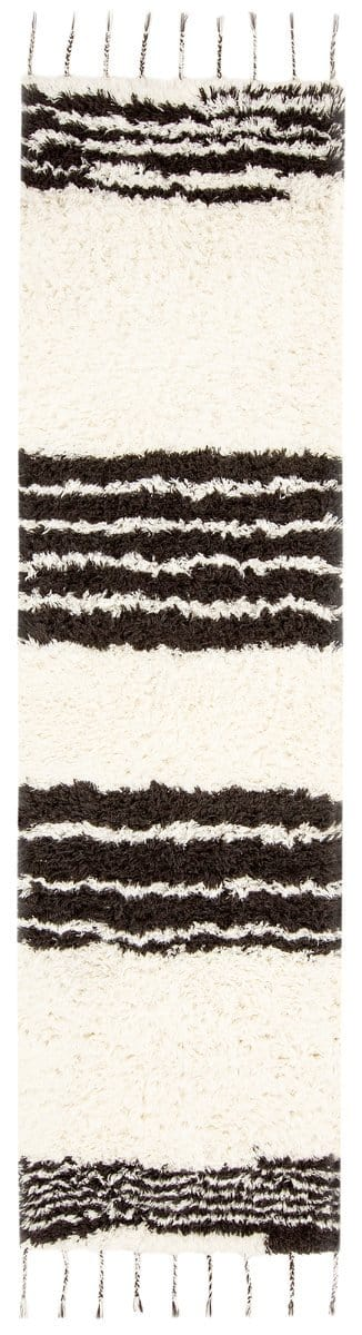 Jamila Ivory and Black Striped Berber Runner Rug (Pre-Order)