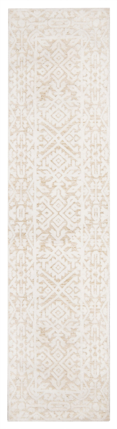 Josephine Ivory and Cream Tribal Transitional Runner Rug