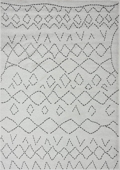 Junya Grey and Ivory Abstract Tribal Pattern Rug
