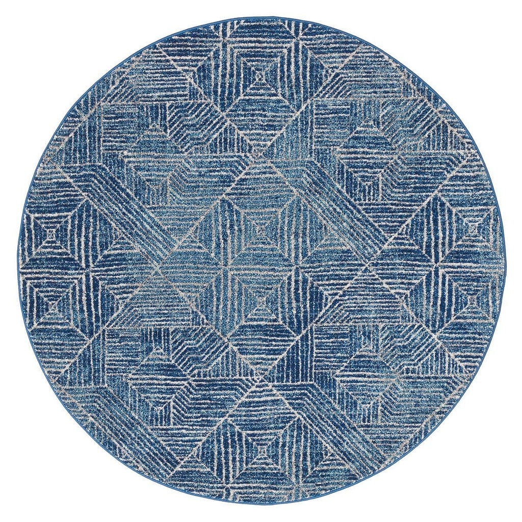 Kampot Navy And White Tribal Diamond Pattern Round Rug