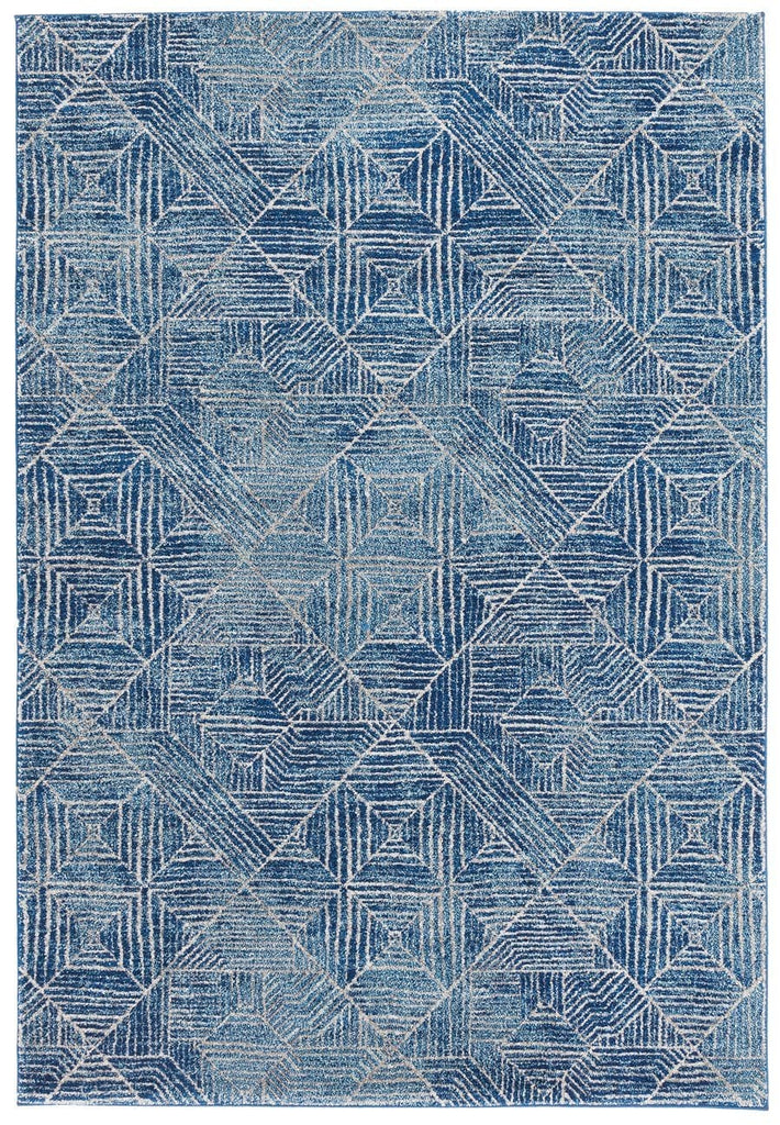 Kampot Navy and White Tribal Diamond Pattern Rug