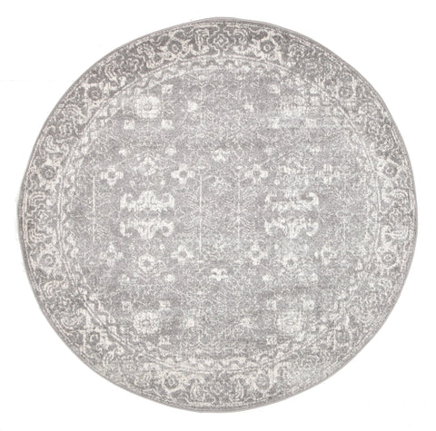 Karakol Grey and White Persian Pattern Round Rug