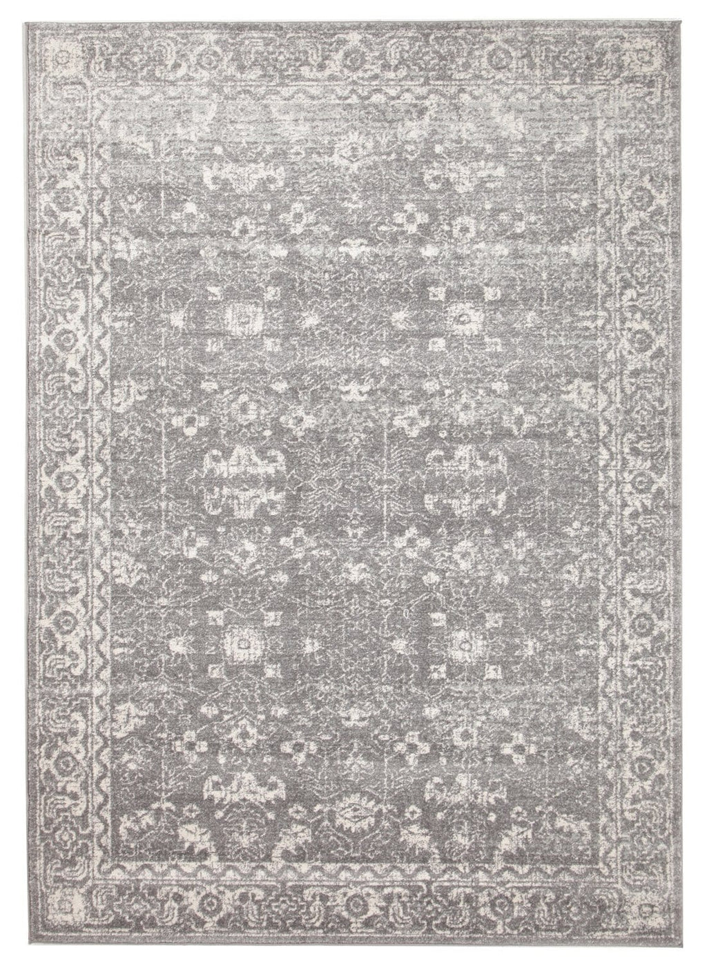Karakol Grey and White Persian Pattern Rug