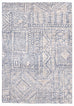 Karmen Blue and Ivory Geometric Patterned Rug