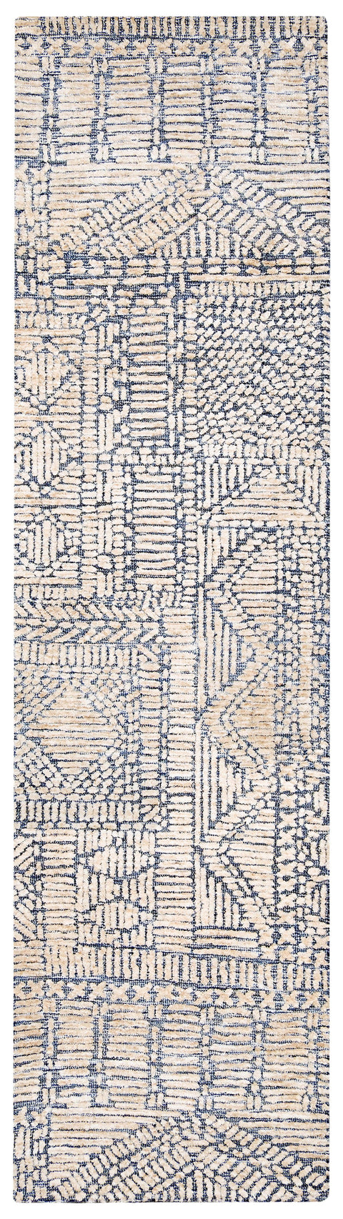Karmen Blue and Ivory Geometric Patterned Runner Rug