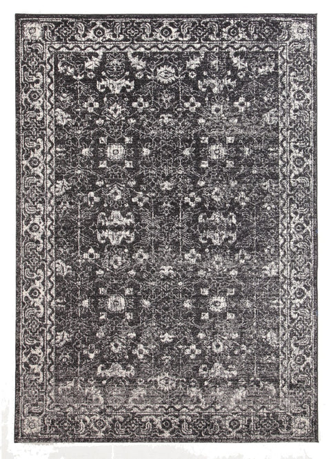 Kemin Black and White Persian Pattern Rug