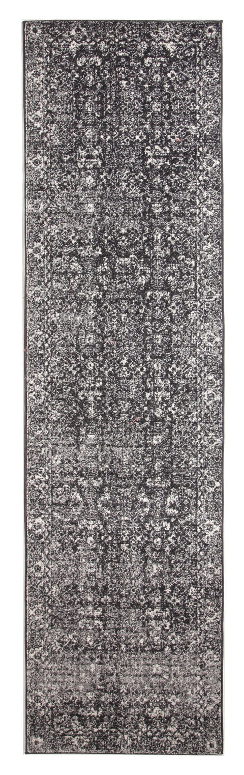 Kemin Black and White Persian Pattern Runner Rug