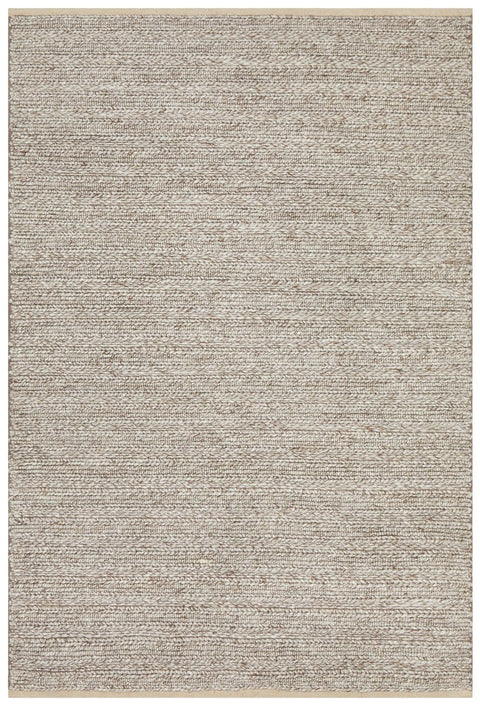 Kerava Natural Beige Chunky Knit Wool Rug