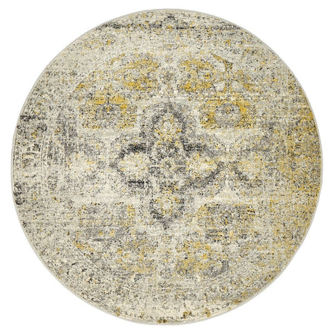 Khusus Grey and Yellow Distressed Floral Medallion Round Rug