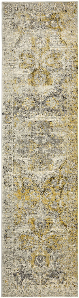 Khusus Grey and Yellow Distressed Floral Medallion Runner Rug