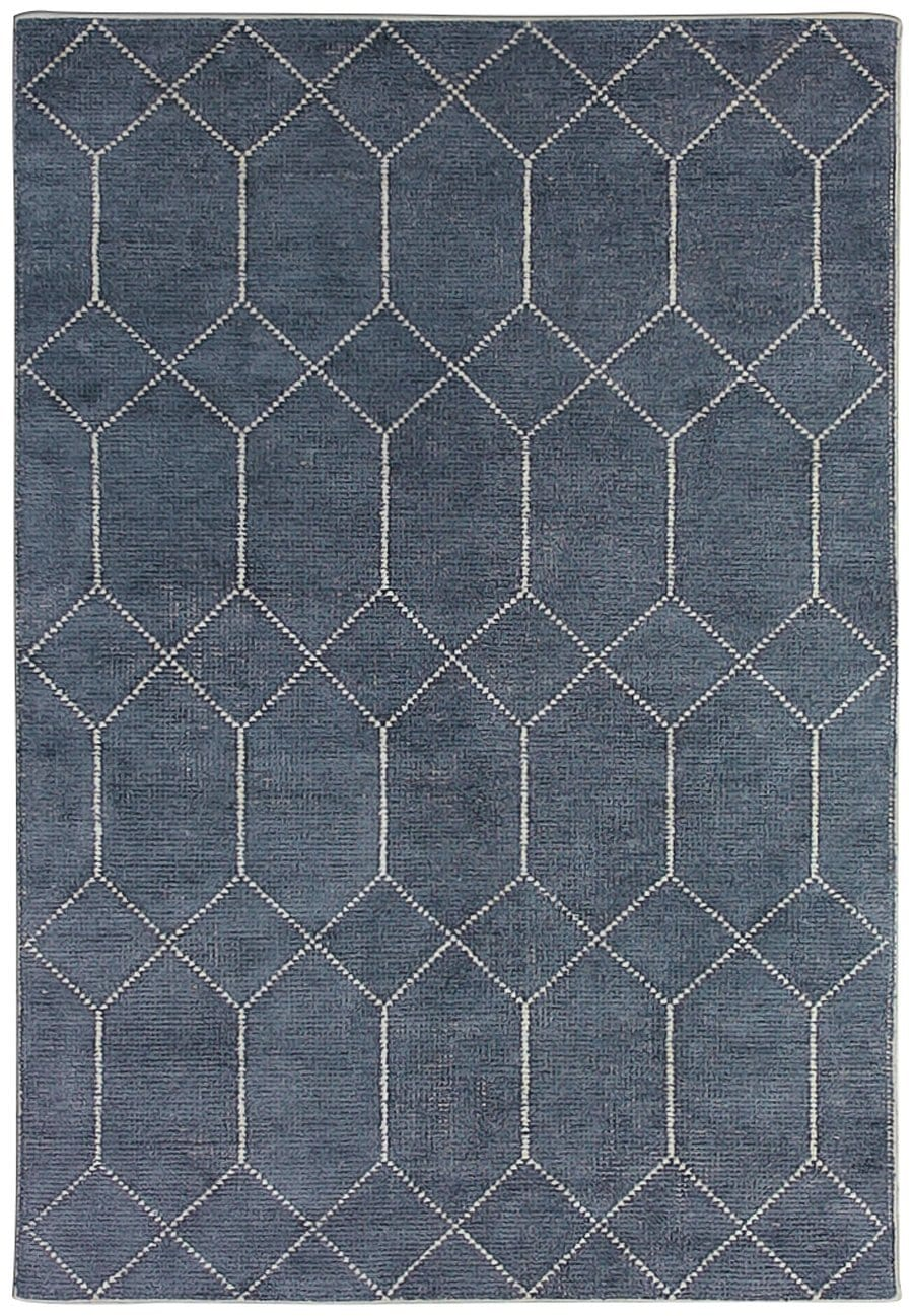 Komaki Hand Knotted Indigo Wool and Bamboo Rug