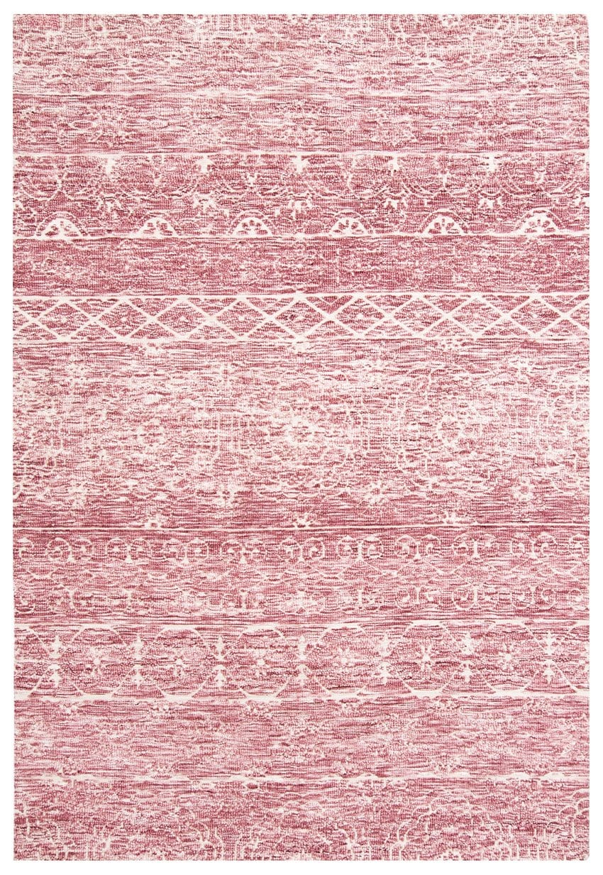 Kora Pink and Ivory Textured Tribal Rug