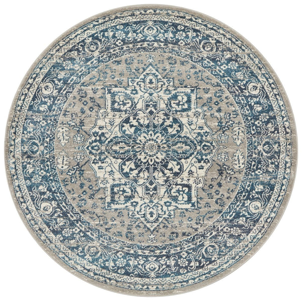Laurent Blue & Grey Round Traditional Medallion Rug
