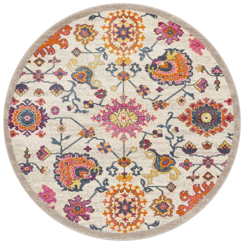 Lievin Multi Colour Round Traditional Floral Rug