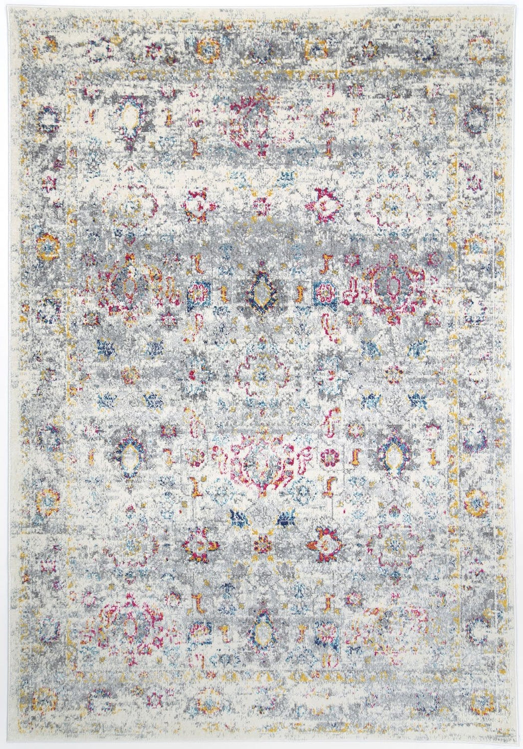 Leknes Grey and Pink Floral Distressed Rug