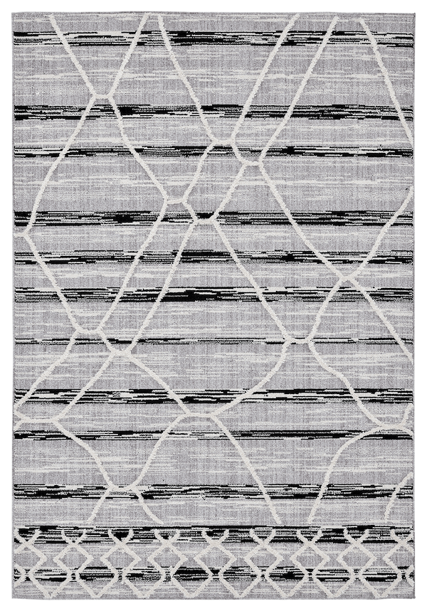 Lena Grey Black Abstract Textured Rug