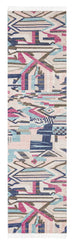 Lexi Blue and Pink Abstract Tribal PET Runner Rug