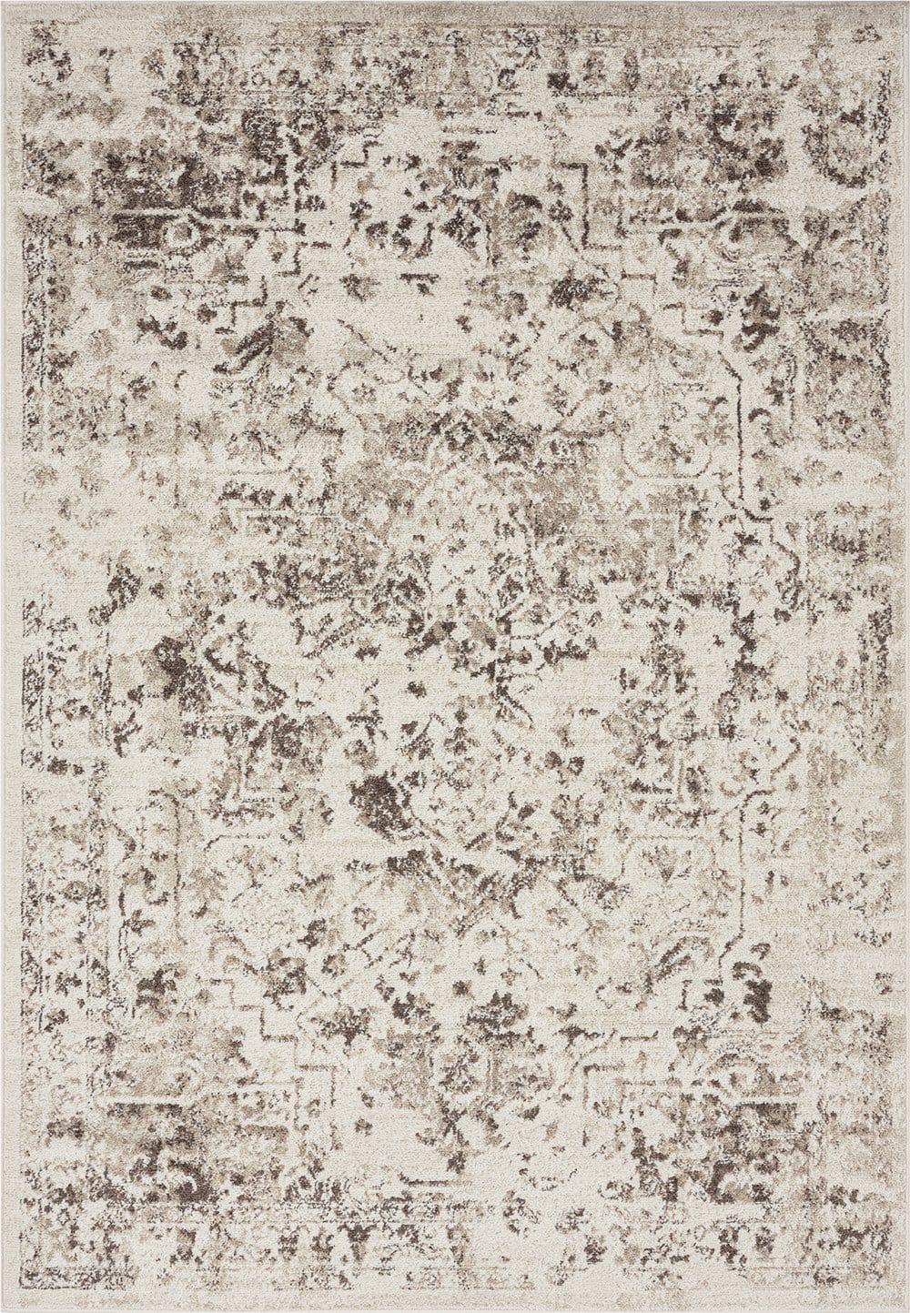 Liliana Cream and Brown Traditional Distressed Floral Rug