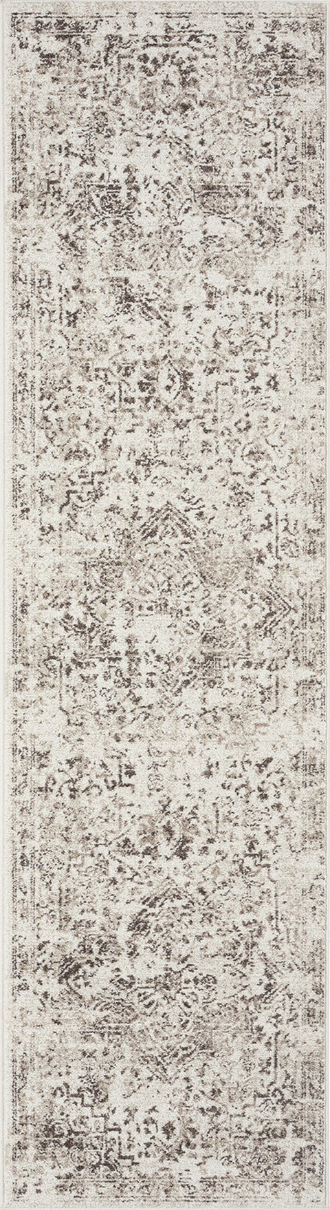 Liliana Cream and Brown Traditional Distressed Floral Runner Rug