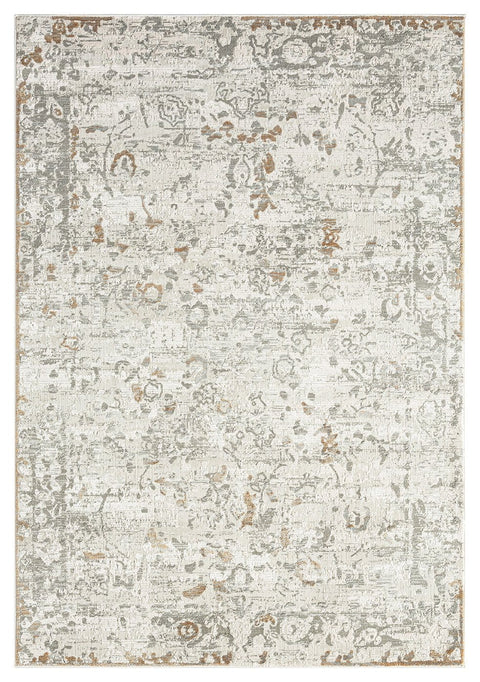 Louise Grey Ivory and Beige Distressed Floral Rug