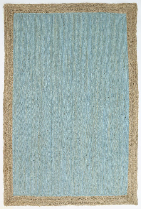 Luana Blue Hand-Braided Bordered Jute Rug