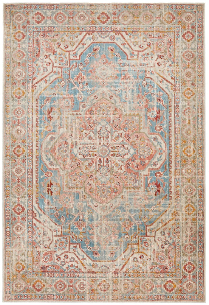 Luxor Blue and Apricot Traditional Distressed Medallion Rug