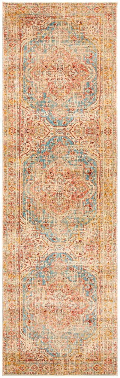 Luxor Blue and Apricot Traditional Distressed Medallion Runner Rug