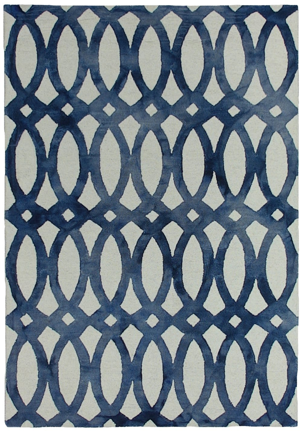 Marbella Navy Blue and White Abstract Wool Rug