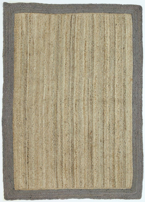 Marigot Taupe Hand-Braided Bordered Jute Rug