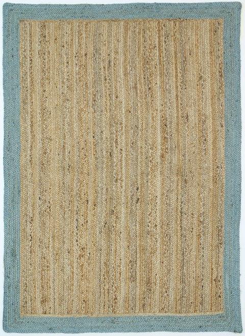 Masseru Blue Hand-Braided Bordered Jute Rug