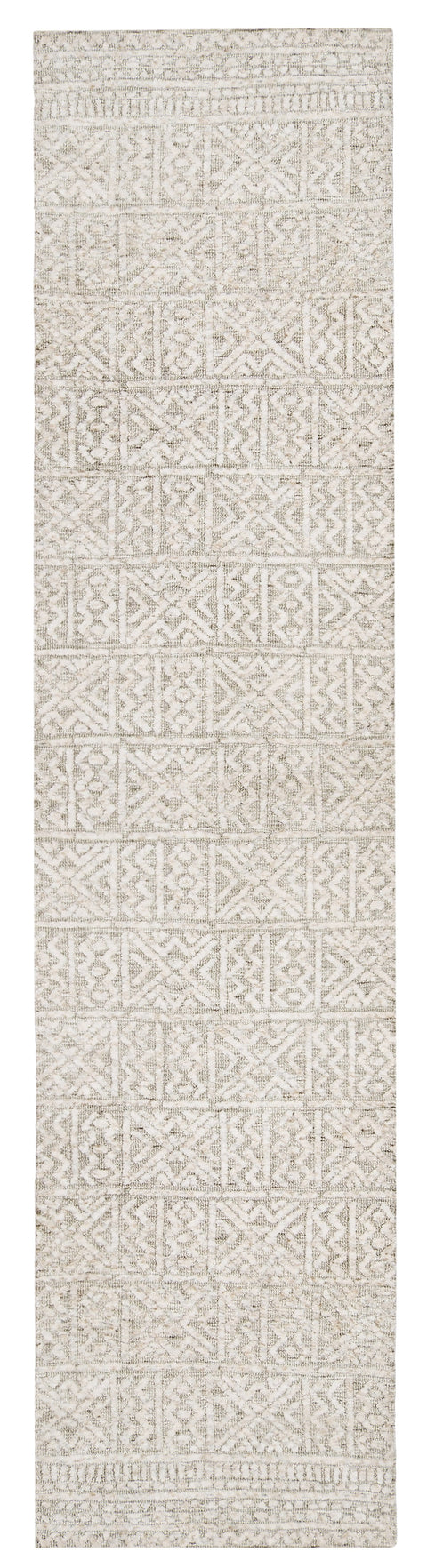 Melia Grey and Ivory Tribal Textured Runner Rug