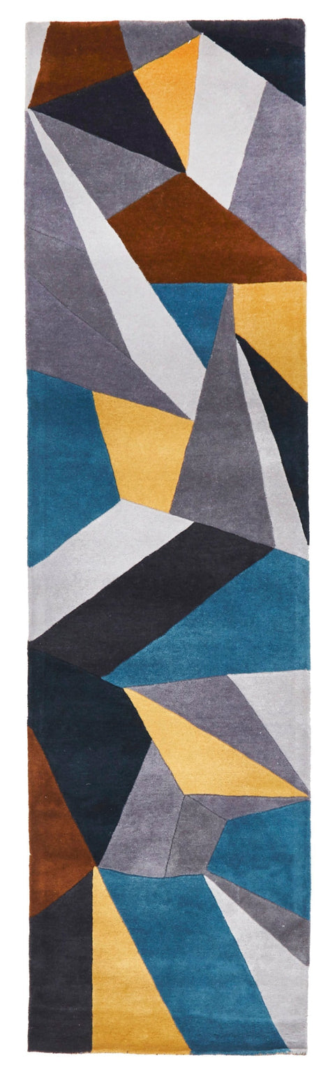 Metz Blue, Grey and Yellow Abstract Wool Runner Rug