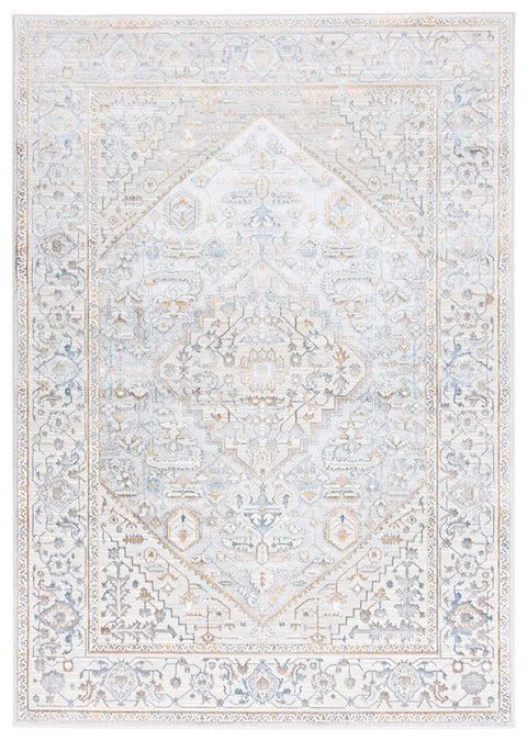 Mira Lustrous Grey Tan and Blue Ornate Rug