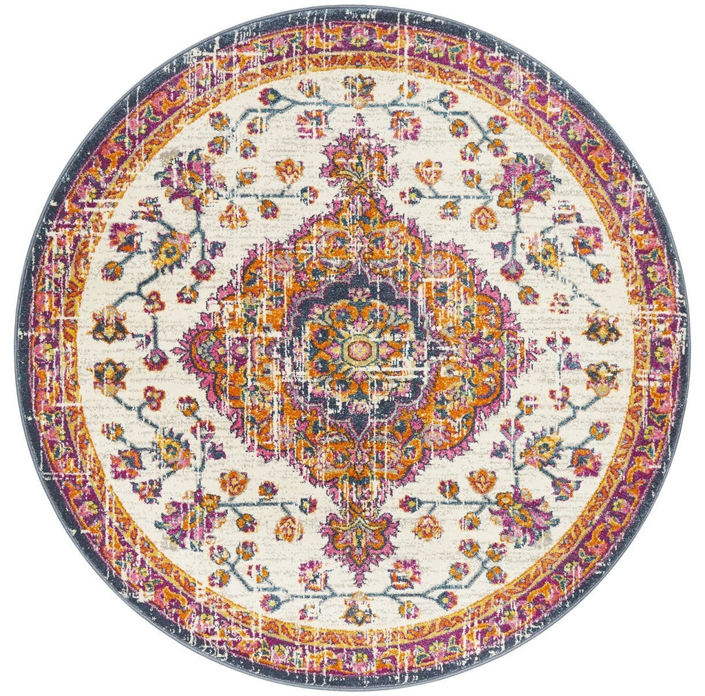Miramas Multi Colour Round Traditional Medallion Rug
